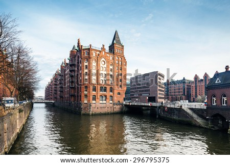 Autumn Speicherstadt in Hamburg - stock photo