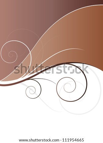 autumn spring background with floral elements and swirls - stock photo