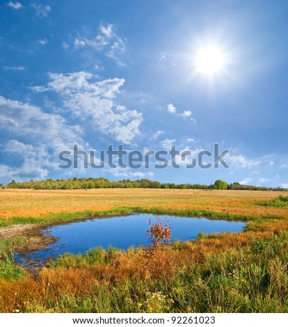 autumn steppe by a sunny day - stock photo