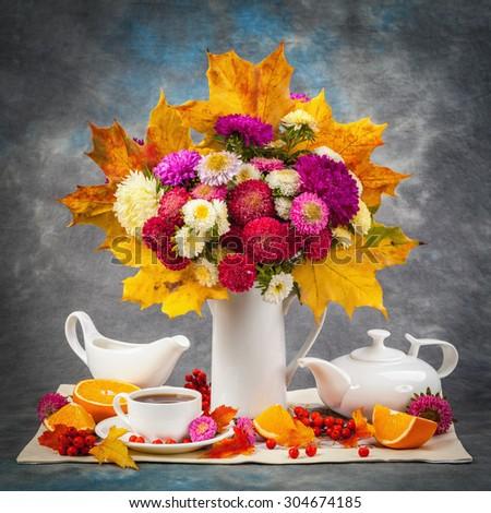Autumn still life. Flower, fruit and vegetables - stock photo