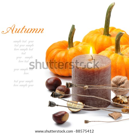 Autumn still-life with candle - stock photo