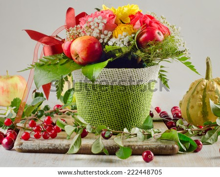 Autumn still life with fresh fruits and berries . Selective focus - stock photo