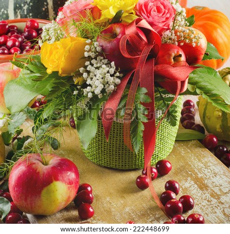 Autumn still life with fresh fruits . Selective focus - stock photo