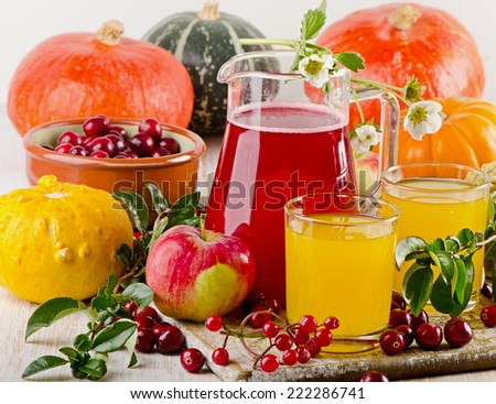 Autumn still life with fresh juice  and vegetables. Selective focus - stock photo