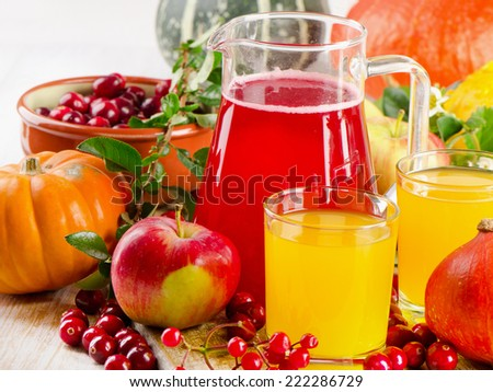 Autumn still life with fresh juice, fruit, berries and vegetables. Selective focus - stock photo