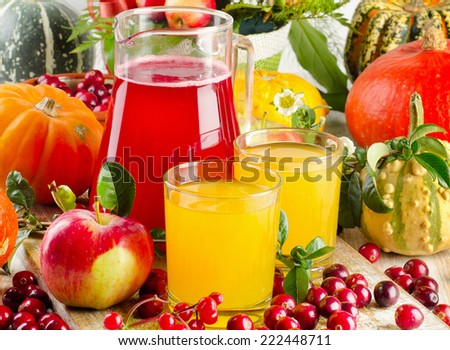 Autumn still life with juice, fruit and vegetables. Selective focus - stock photo