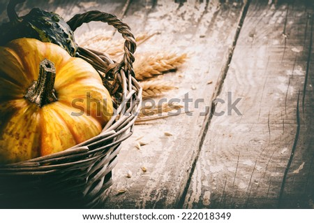 Autumn still-life with pumpkins in rustic basket - stock photo