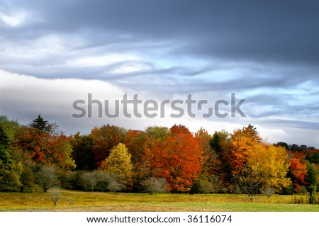 Autumn Storm Clouds Horizontal With Copy Space - stock photo