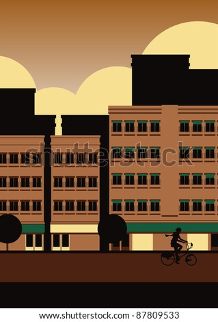 Autumn street scene illustration - stock photo