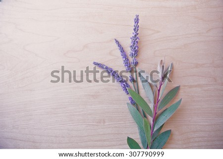 Autumn summer background with Lavender and hand made paper as a copy space. Card background, Flowers on vintage wood background - stock photo