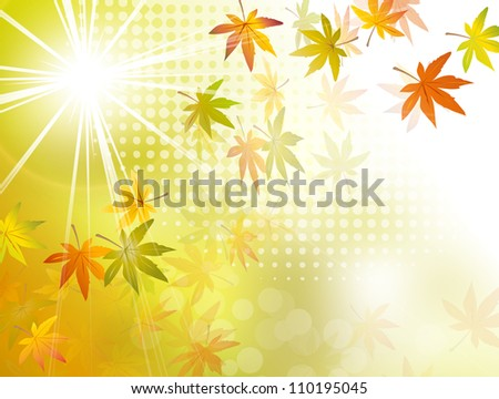 Autumn sun background - fall leaves - stock photo