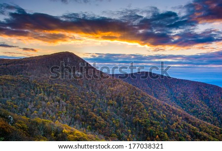 Autumn sunset over Hawksbill Mountain, seen from Skyline Drive in Shenandoah National Park, Virginia. - stock photo