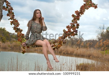 Autumn swings (original) - stock photo