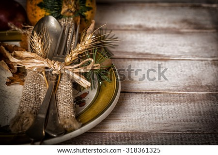 Autumn table setting - stock photo