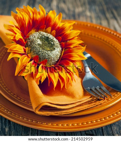 Autumn table setting. Shallow depth of field. - stock photo