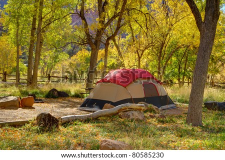 Autumn tent camping in Zion National Park - Watchman Campground