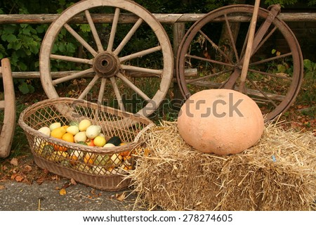 Autumn theme / In the photo composition of the two wheels, bale straw basket with decorative pumpkins and one large pumpkin. - stock photo