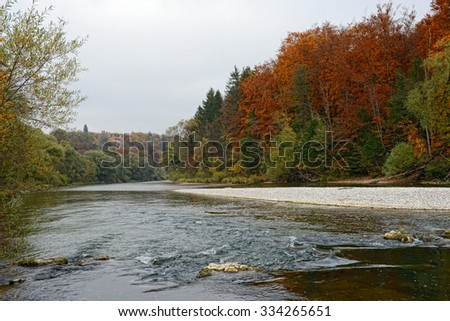 Autumn time at Isar river next to Munich, Pullach. hdr - stock photo
