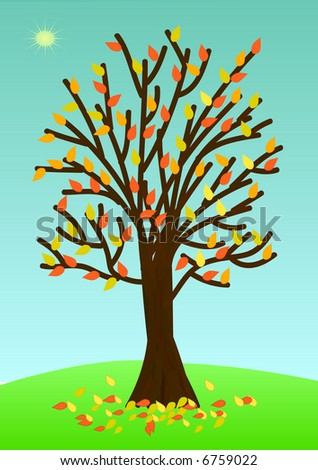 Autumn tree with poor foliage. Vector version - in my portfolio - stock photo