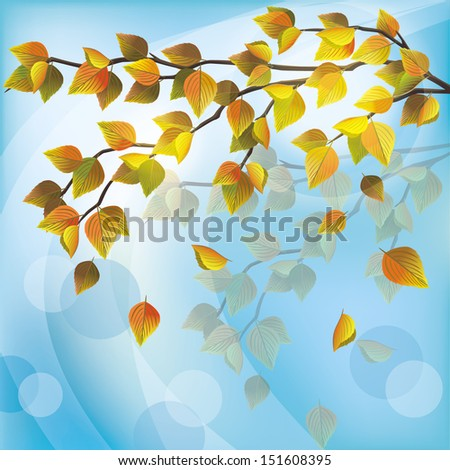 Autumn tree with yellow flying leaves, light nature background, place for text. Raster version