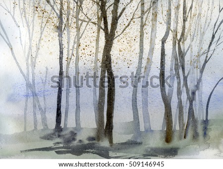 Autumn trees background, hand drawn watercolor painting