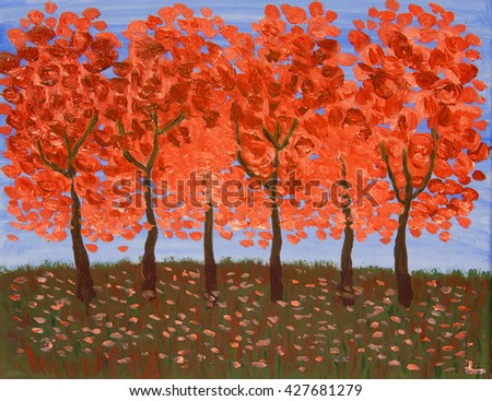 Autumn trees n in red colours, oil painting. - stock photo