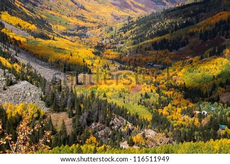 Autumn valley in San Juan mountains - stock photo