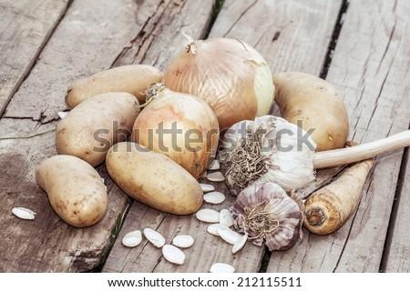 autumn vegetables - garlic, onion and potatoes - stock photo