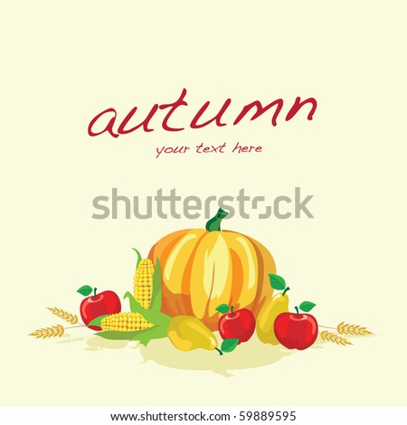 Autumn vegetables on plain background with space for text. Also available in vector format. - stock photo