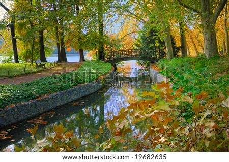 Autumn view of a bridge over a stream leading into the lake at Golden Head Park in Lyon, France. - stock photo