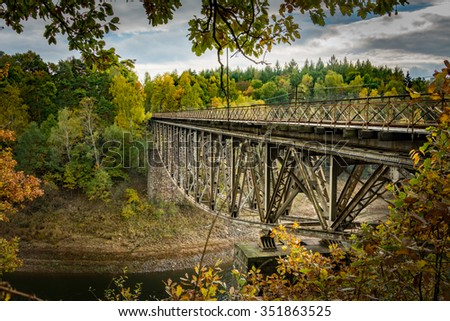 Autumn view of a railroad bridge in souther Poland near Pilchowickie lake dam