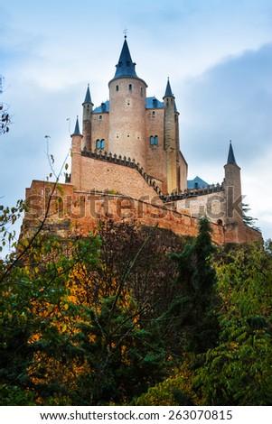 Autumn view of Castle of Segovia. Castile and Leon, Spain - stock photo