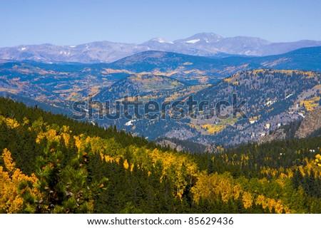 Autumn View of Colorado Mountains - stock photo