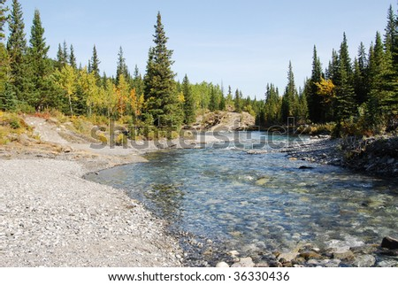 Autumn view of elbow river and valley in kananaskis country, alberta, canada - stock photo