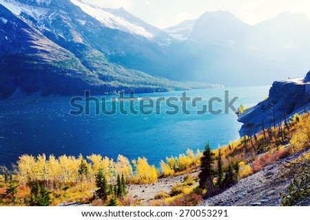 autumn view of Going to the Sun Road in Glacier National Park, Montana, United States - stock photo