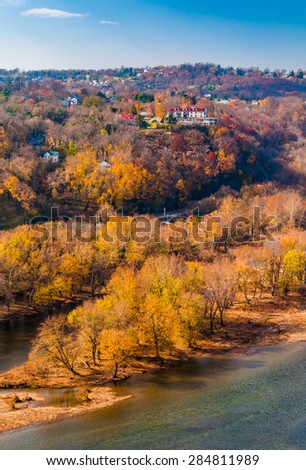 Autumn view of Park Island and the upper town of Harper's Ferry, West Virginia. - stock photo