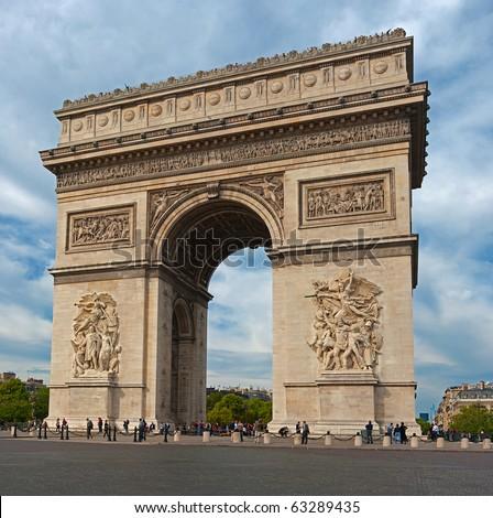 Autumn view of the Arc de Triomphe, Paris. - stock photo