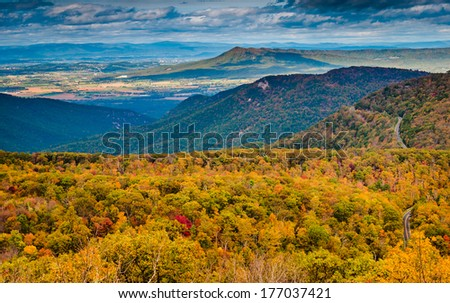 Autumn view of the Blue Ridge Mountains and Shenandoah Valley from Loft Mountain, Shenandoah National Park, Virginia. - stock photo