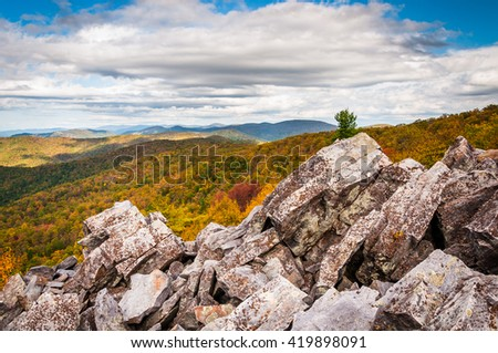 Autumn view of the Blue Ridge Mountains from the boulder-covered summit of Blackrock, in Shenandoah National Park, Virginia. - stock photo