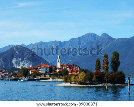 Autumn view of the Fishermen Island, Lake Maggiore, Piedmont, Italy - stock photo