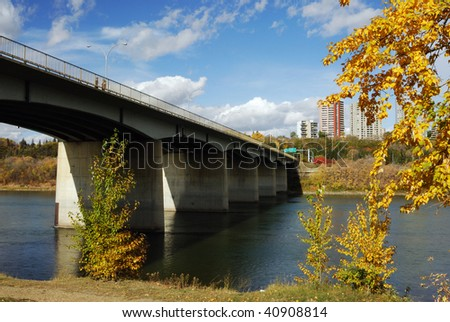 Autumn view of the north saskatchewan river and bridge in edmonton downtown, alberta, canada - stock photo