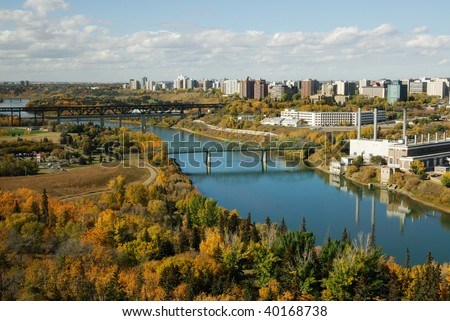 Autumn view of the north saskatchewan river valley and downtown in city edmonton, alberta, canada - stock photo