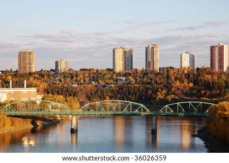 Autumn view of the north saskatchewan river valley in city edmonton, alberta, canada - stock photo