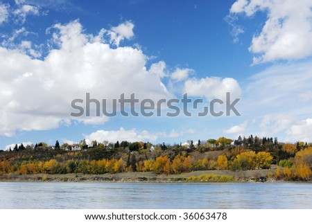 Autumn view of the north saskatchewan river valley in edmonton downtown, alberta, canada - stock photo