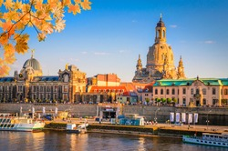 Autumn view of the Old Town architecture with Elbe river in Dresden, Saxony, Germany