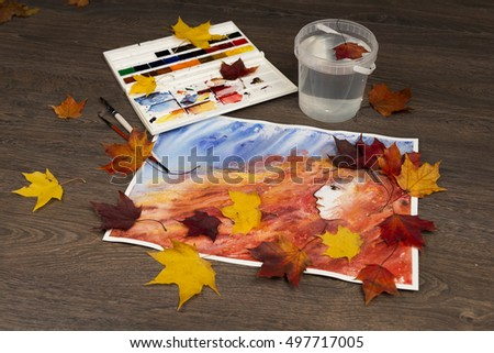 Autumn watercolor background. Princess of fall. Artwork. Red and blue.