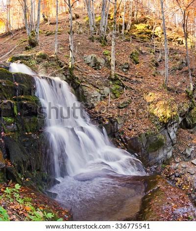 autumn waterfall - stock photo