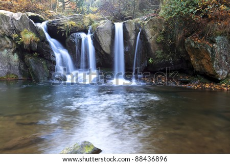 autumn waterfall at the black dragon pool in lushan,China - stock photo