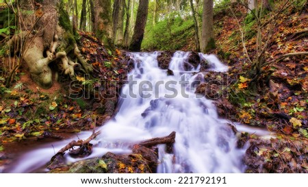 Autumn Waterfall in an October Forest. Lovely Colors of the Fall in Bavaria - stock photo