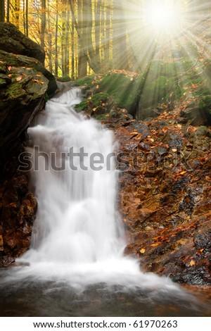 autumn waterfall in Czech republic - stock photo